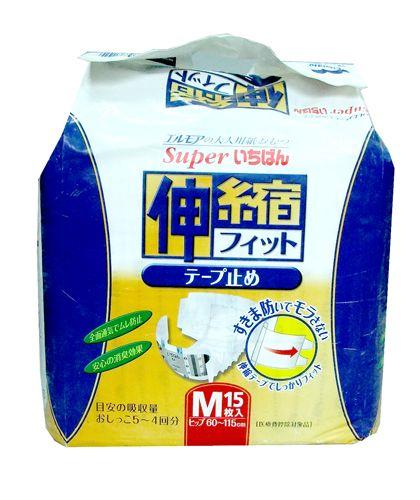"""711020 """"Super Ichiban"""" Подгузники с эластичными застёжками 15шт 60см-115см (размер М) 1/4"""